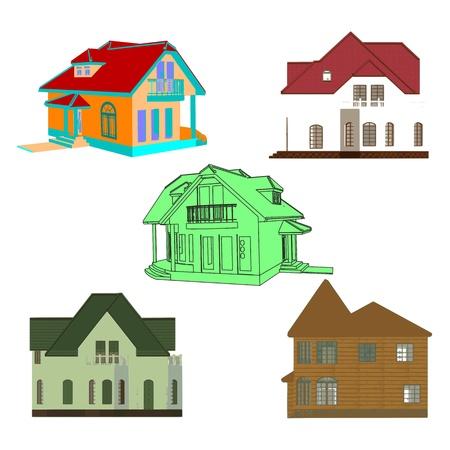 Set of cottages for design Stock Vector - 13715941