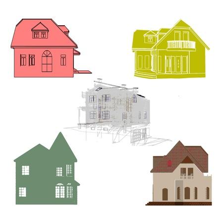 Set of cottages for design Stock Vector - 13715681