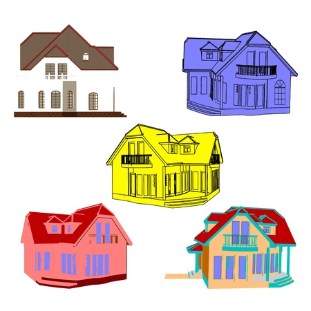Set of cottages for design Stock Vector - 13714350