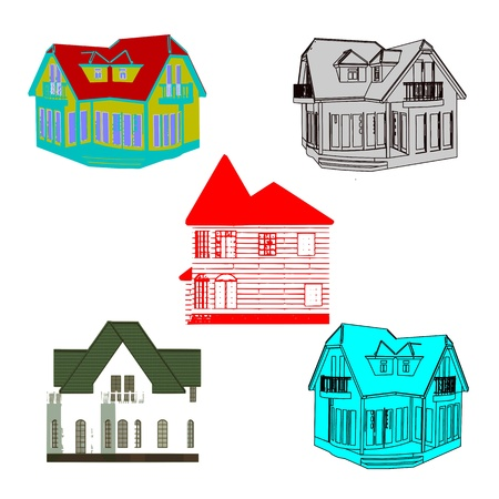 Set of cottages for design - vector Stock Vector - 13715827