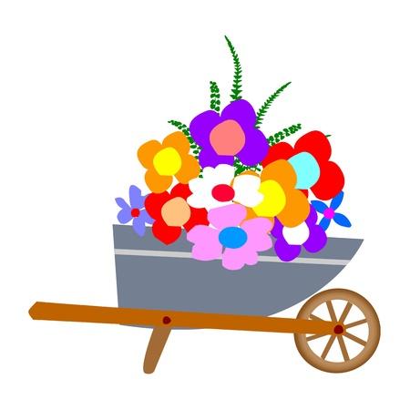 wheelbarrow garden and flowers - vector