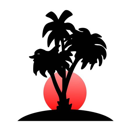 breezy: island, palms and sun  - vector Illustration