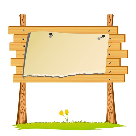 guide board: wooden billboard and blank paper - vector