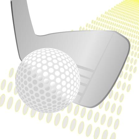 golf stick: de golf palo y la pelota sobre el fondo del grunge Vectores