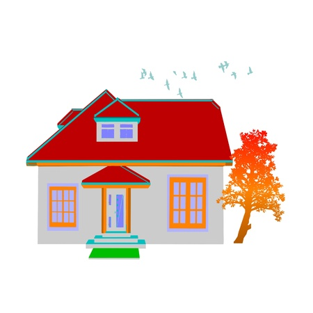 cottage. house and tree on white Stock Vector - 13716447