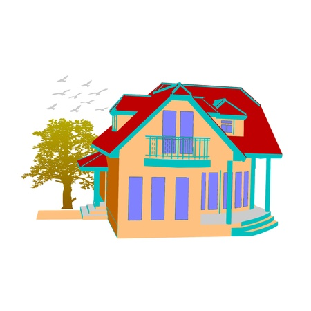 cottage. house and tree on white Illustration