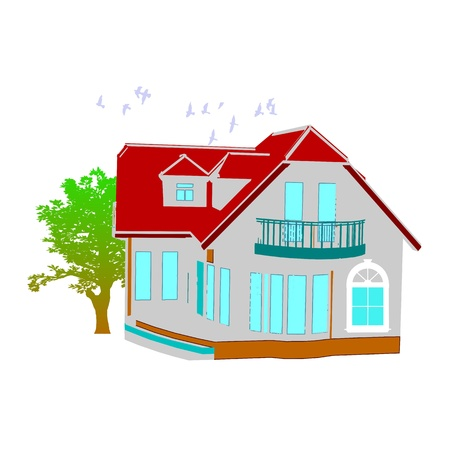 cottage. house and tree on white Stock Vector - 13716229