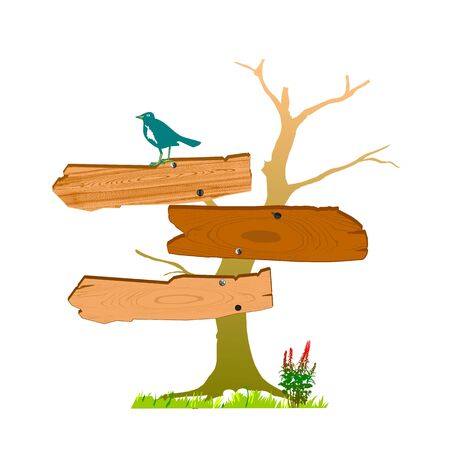 old wooden sign and bird - vector Vector