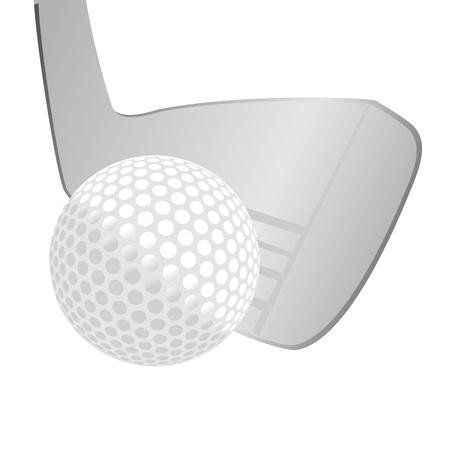 golf stick: palo y pelota de golf aislado sobre fondo blanco - versi�n raster
