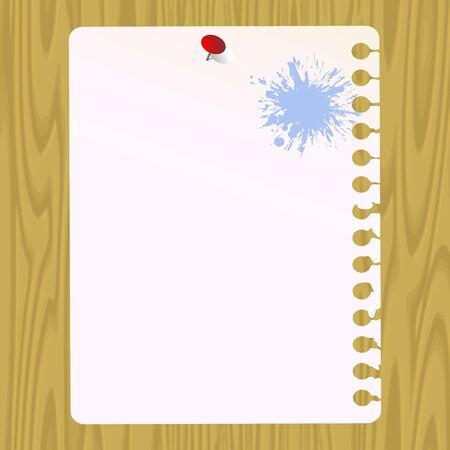Чистый лист бумаги на фоне дерева Иллюстрация