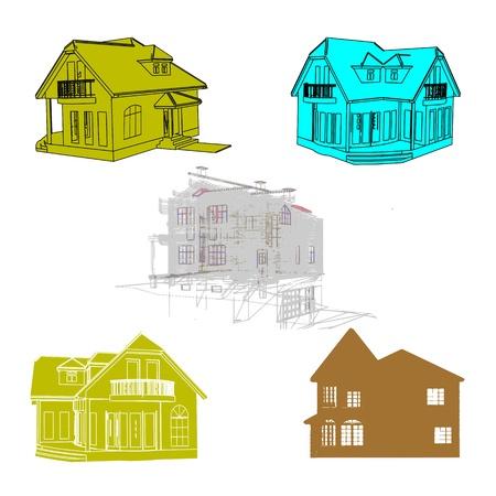 Set of cottages for design Stock Vector - 13754621