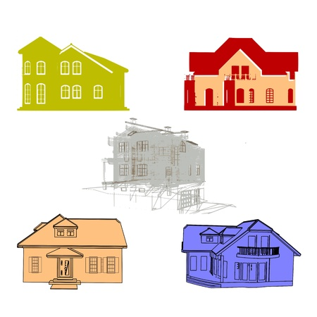 detached house: Set of cottages for design