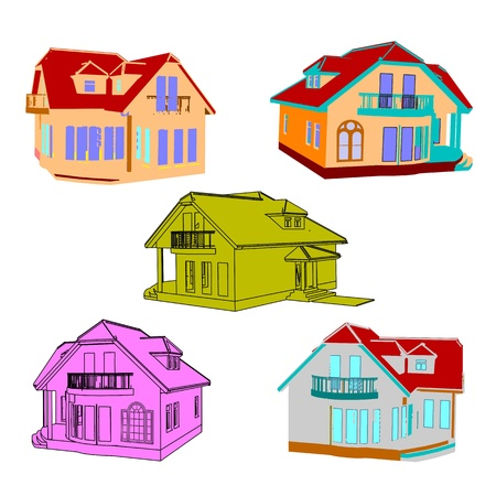 Set of cottages for design Stock Vector - 13754616