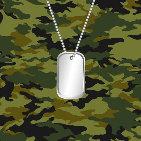 camouflage and army dog tag - vector Vector