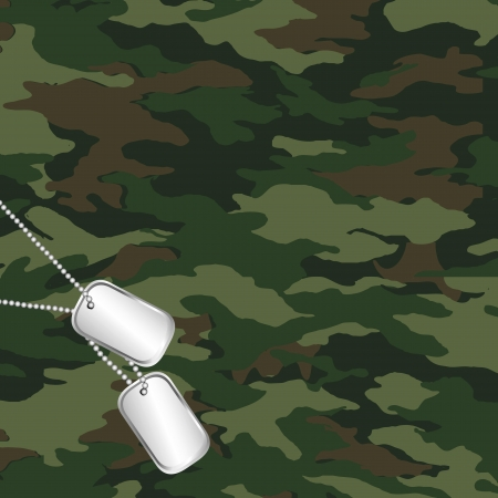 camouflage and army dog tag Vector