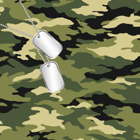 military uniform: camouflage and army dog tag