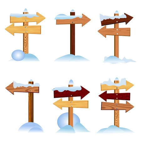 wooden arrow signs and snow Stock Vector - 13763634
