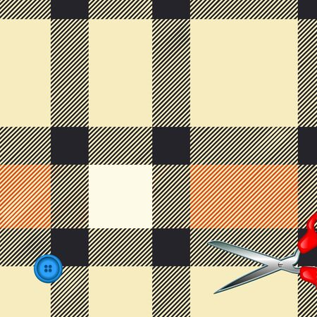 Tartan plaid fabric textile pattern and scissors, button Vector