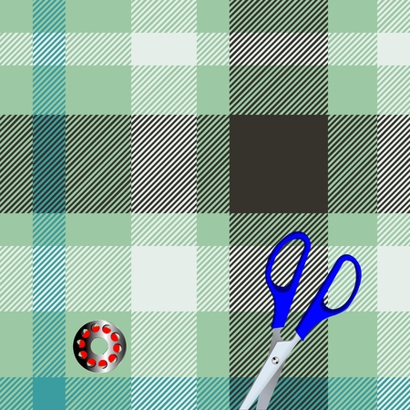 Tartan plaid fabric textile pattern and scissors, bobbin Vector