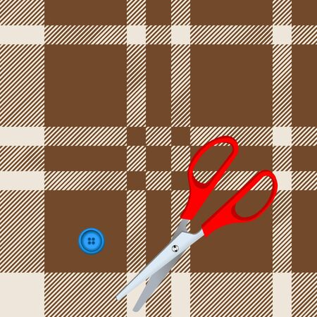 Tartan plaid fabric textile pattern and scissors, button - vector Vector