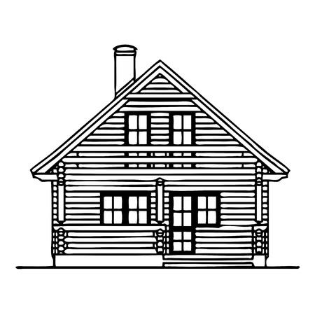 log wall: Wooden house Illustration