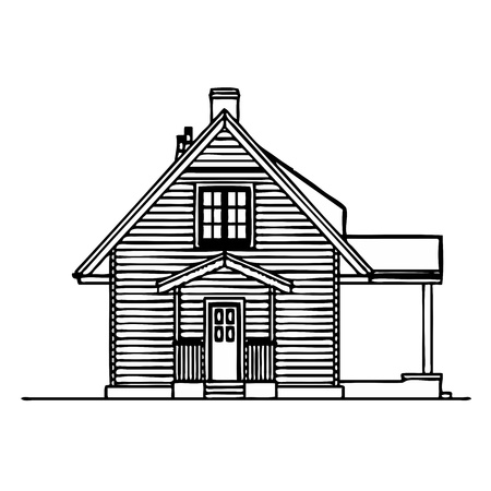 log wall: Wooden house - vector