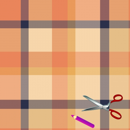 Tartan plaid fabric textile pattern and scissors, pencil Vector
