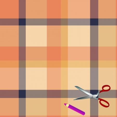 Tartan plaid fabric textile pattern and scissors, pencil Stock Vector - 13768740