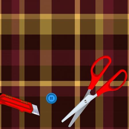 Tartan plaid fabric textile pattern and scissors, button, cutter Stock Vector - 13768750