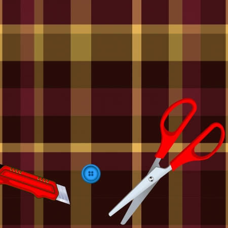 Tartan plaid fabric textile pattern and scissors, button, cutter Stock Vector - 13768750