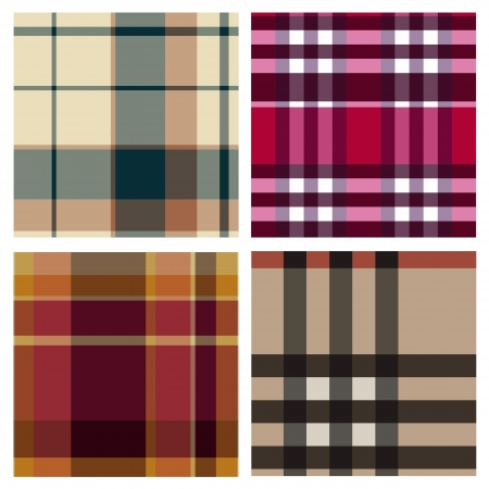 Tartan plaid fabric textile patterns Vector