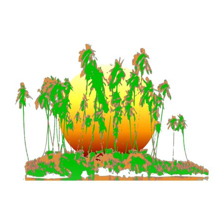 tropical island and palms  - vector Illustration