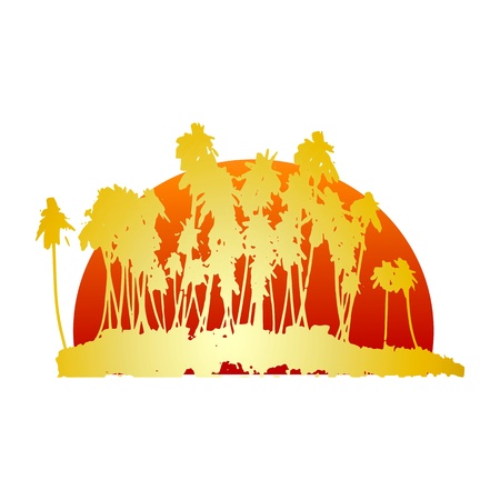 breezy: tropical island and palms  - vector Illustration