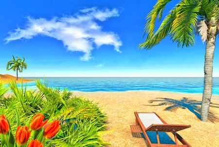 Beach, palms and chair Stock Photo - 14324757