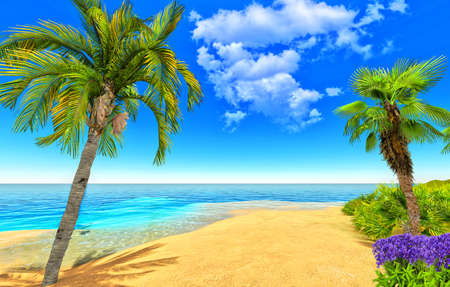 Beach, palms and flowers Stock Photo - 14324818