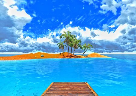 jetty and tropical island Stock Photo - 14324708