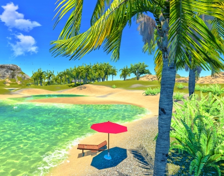 paradise lagoon with lounge and umbrella Stock Photo - 14324765