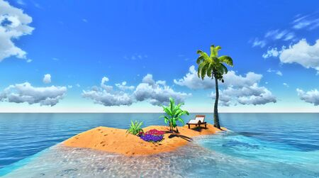 breezy: tropical island and palm Stock Photo