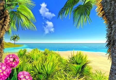 Beach, palms and flowers Stock Photo - 14324822