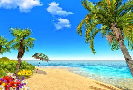 Beach, palms and umbrella Stock Photo - 14324813