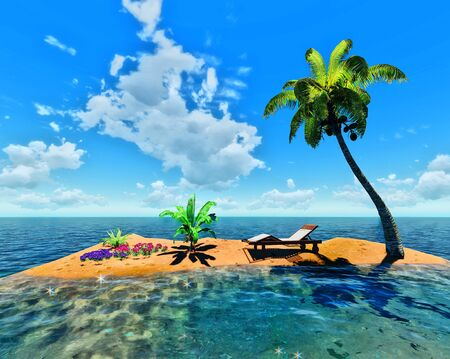 tropical island and palm Stock Photo - 14324710