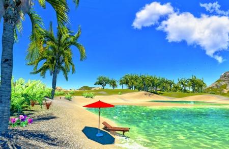 paradise lagoon with lounge and umbrella Stock Photo - 14324817