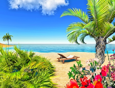 Beach, palms and chair Stock Photo - 14324764