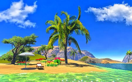 paradise lagoon with lounge and umbrella Stock Photo - 14324742