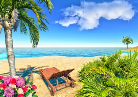 Beach, palms and chair Stock Photo - 14324797