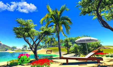 paradise lagoon with lounge and umbrella Stock Photo - 14324829