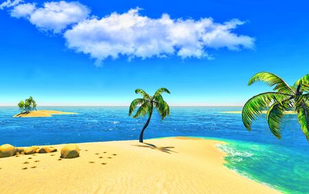 Beach, island and palms Stock Photo - 14324705