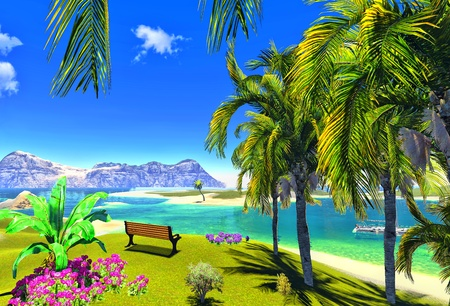 paradise lagoon and bench Stock Photo - 14324826