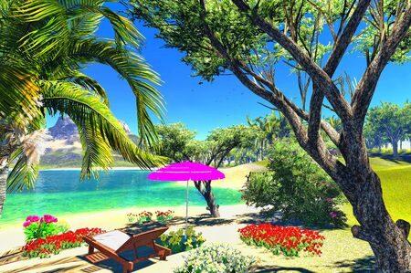 paradise lagoon with lounge and umbrella Stock Photo - 14324830