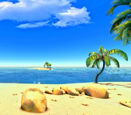 Beach, island and palms Stock Photo - 14324712